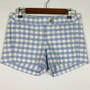 J. Crew Stretch Gingham Plaid Shorts Blue White